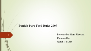 Punjab Pure Food Rules 2007