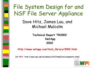 File System Design for and NSF File Server Appliance