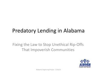 Predatory Lending in Alabama