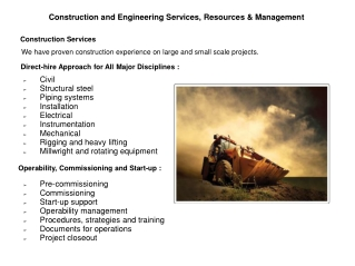 Construction and Engineering Services, Resources