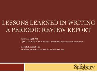 Lessons learned in writing a periodic review report