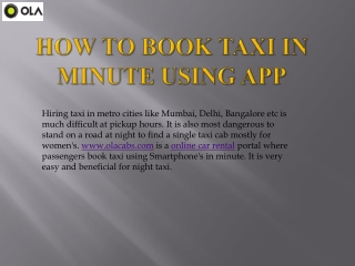 Book Taxi In Minute