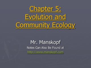 Chapter 5:  Evolution and Community Ecology