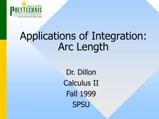 Applications of Integration: Arc Length