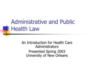 administrative and public health law