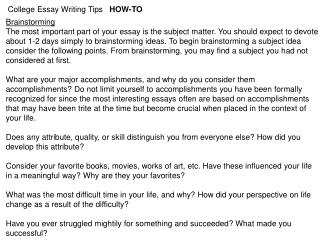 College Essay Writing Tips   HOW-TO