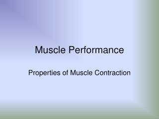 Muscle Performance