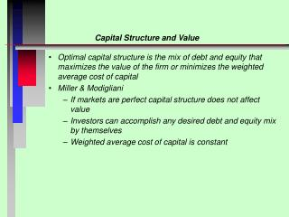 Capital Structure and Value