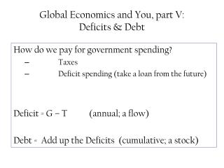 Global Economics and You, part V:  Deficits & Debt