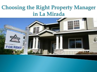 Property Manager in La Mirada