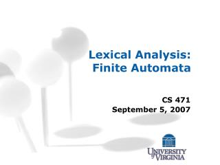Lexical Analysis: Finite Automata
