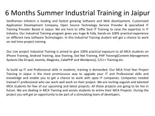 6 Months Summer Industrial Training in Jaipur For MCA