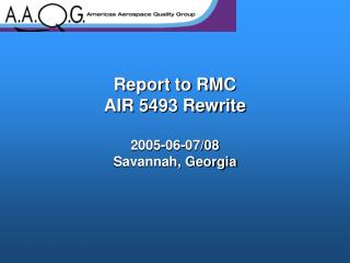 Report to RMC  AIR 5493 Rewrite   2005-06-07