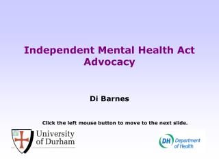 Independent Mental Health Act Advocacy