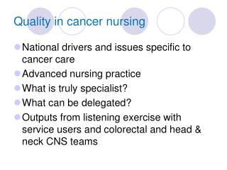 Quality in cancer nursing