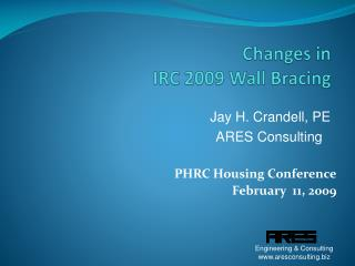 Changes in  IRC 2009 Wall Bracing