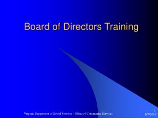 Board of Directors Training