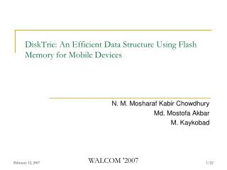 DiskTrie: An Efficient Data Structure Using Flash Memory for Mobile Devices