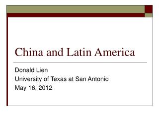 China and Latin America