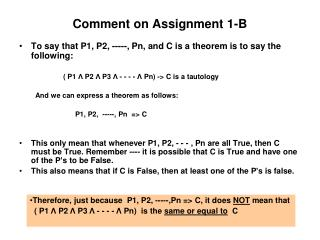 Comment on Assignment 1-B