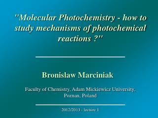 Faculty of Chemistry, Adam Mickiewicz University, Poznan, Poland