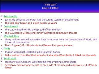 """Cold War"" Cause & Effect"