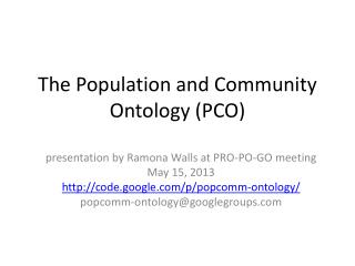 The Population and Community Ontology (PCO)