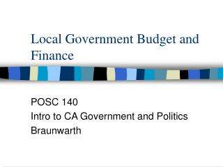 Local Government Budget and Finance