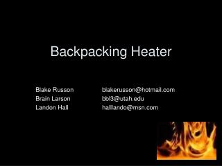 Backpacking Heater