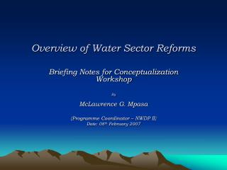 Overview of Water Sector Reforms