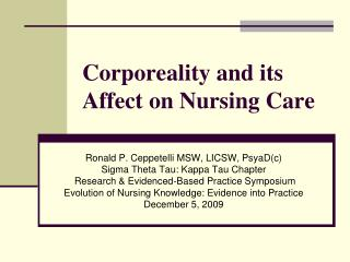 Corporeality and its Affect on Nursing Care
