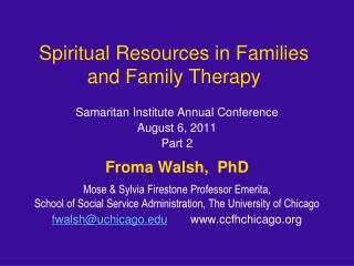 Spiritual Resources in Families and Family Therapy