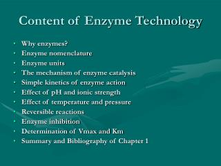 Content of Enzyme Technology