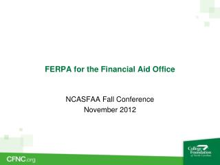 FERPA for the Financial Aid Office