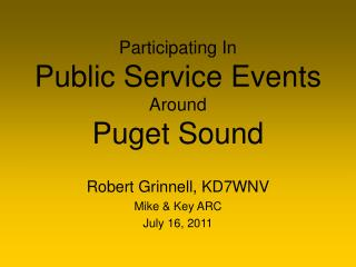 Participating In Public Service Events Around Puget Sound