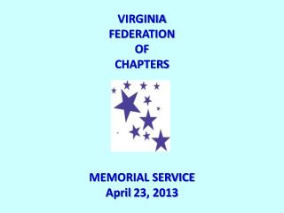 VIRGINIA FEDERATION OF CHAPTERS