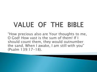 VALUE OF THE BIBLE