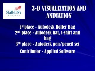 1st place - Autodesk Roller Bag            2nd place - Autodesk hat, t-shirt and bag 3rd place - Autodesk pen