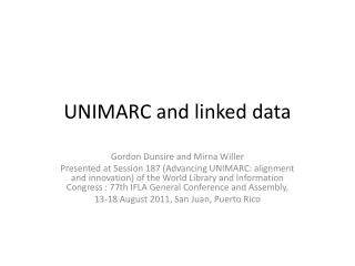 UNIMARC and linked data