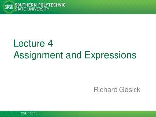 Lecture  4 Assignment and Expressions