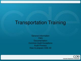 Transportation Training