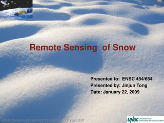 Remote Sensing  of Snow