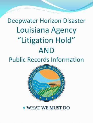 "Deepwater Horizon Disaster Louisiana Agency  ""Litigation Hold""  AND  Public Records Information"