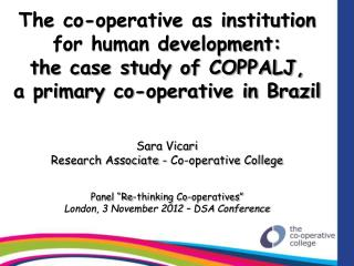 The co-operative as institution for human development: the case study of COPPALJ, a primary co-operative in Brazil