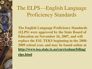 the elps english language proficiency standards