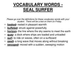VOCABULARY WORDS - SEAL SURFER