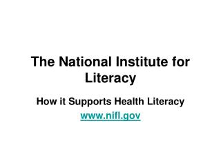 The National Institute for Literacy