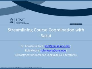 Streamlining Course Coordination with Sakai