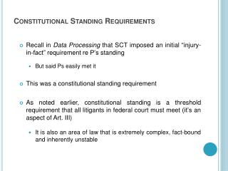 Constitutional Standing Requirements