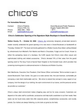 Chico's Celebrates Opening of Its Signature Style Boutique i